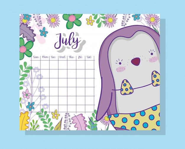 Informações de calendário de julho com pinguim e plantas
