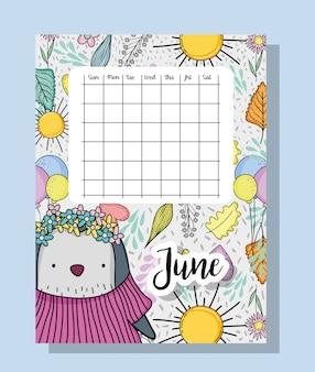 Informações de calendário de junho com pinguim e flores