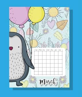 Informações de calendário de março com pinguim e flores