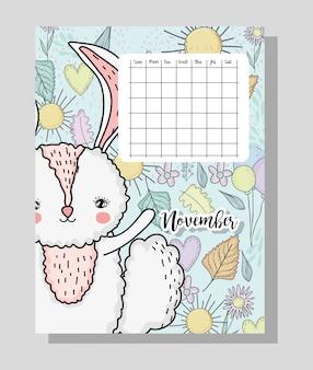Informações de calendário de novembro com coelho e flores