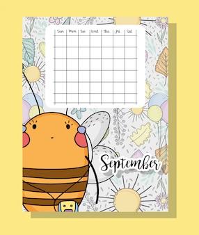 Informações de calendário de setembro com abelha e flores
