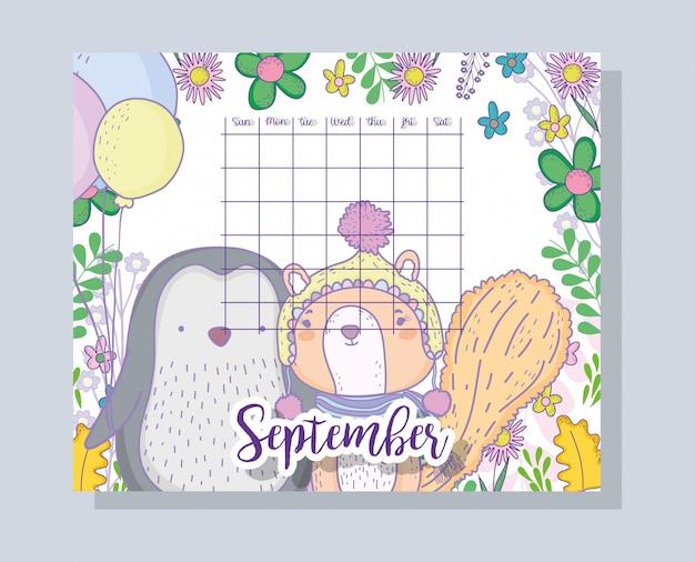 Informações de calendário de setembro com pinguim e esquilo