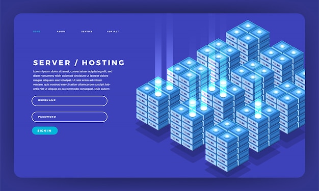 Informações de hospedagem de servidor de conceito de site. ilustração.