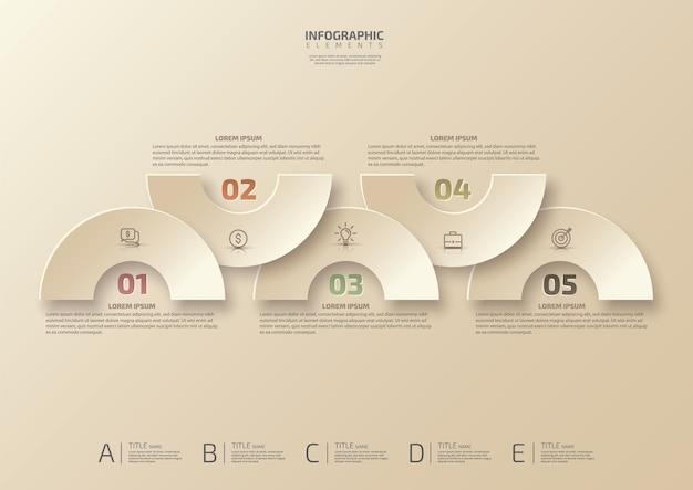 Informações de marketing do modelo de design de infográficos com 5 opções ou etapas de visualização de dados