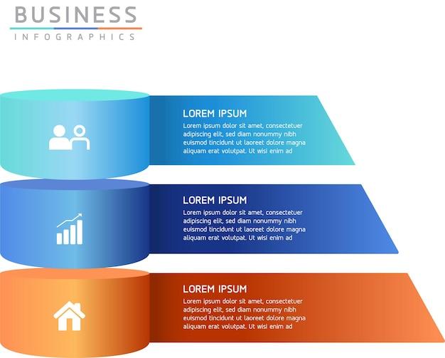 Informações de marketing do modelo de design de infográficos de ilustração vetorial com 3 opções ou etapas