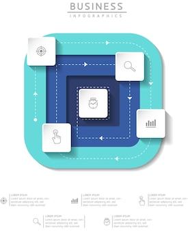 Informações de marketing do modelo de design de infográficos de ilustração vetorial com 4 opções ou etapas