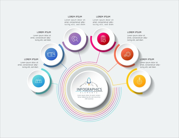 Informações de marketing do modelo de design de infográficos de ilustração vetorial com 6 opções ou s