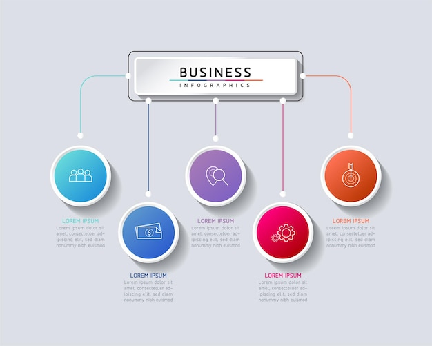 Informações de marketing do modelo de design de infográficos de ilustração vetorial