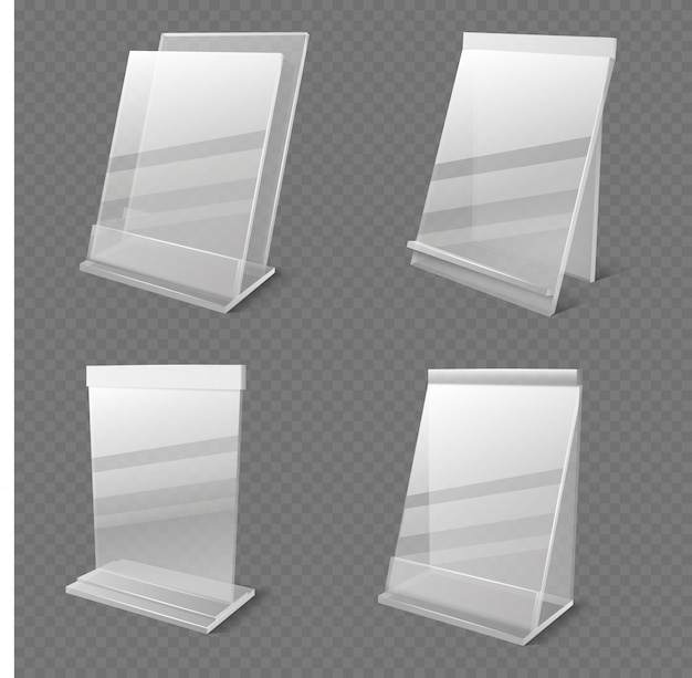 Informações de negócios realista transparente plexiglass titulares vazios vector isolado