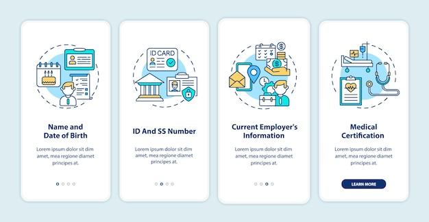 Informações de reivindicação de seguro de invalidez na tela de página de aplicativo móvel de embarque com conceitos.