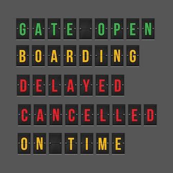 Informações de voo do status de chegada ou partida