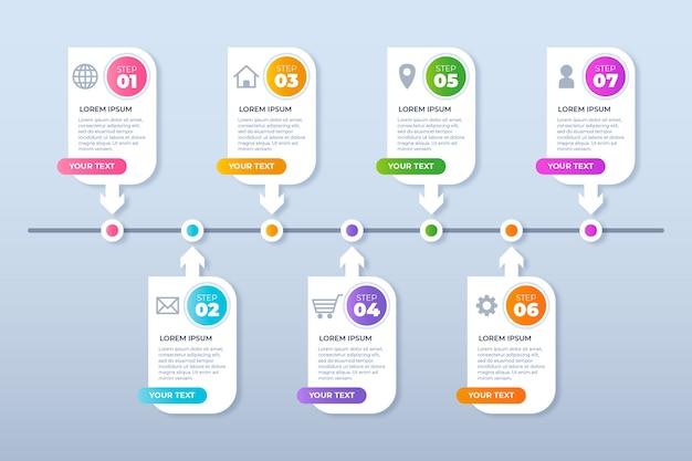 Informações do conceito de infográfico de etapas