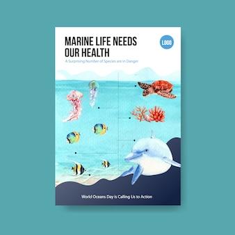 Informações sobre o conceito do dia mundial dos oceanos com animais marinhos e vetor de aquarela de golfinho