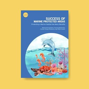 Informações sobre o conceito do dia mundial dos oceanos com animais marinhos, golfinhos, cavalos-marinhos e tartarugas em aquarela