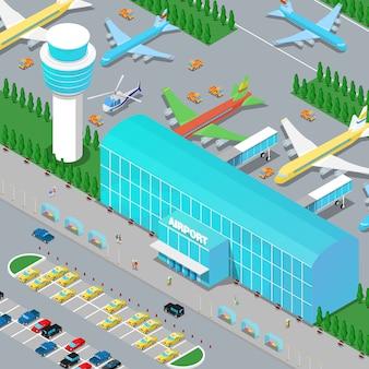 Infra-estrutura aeroportuária isométrica com pista de helicóptero de aviões e área de estacionamento.