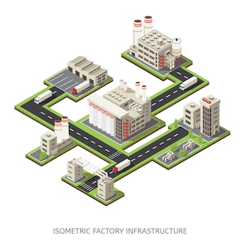 Infra-estrutura de fábrica isométrica