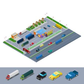 Infra-estrutura rodoviária isométrica rodoviária com estacionamento de caminhões de posto de combustível e área de descanso.