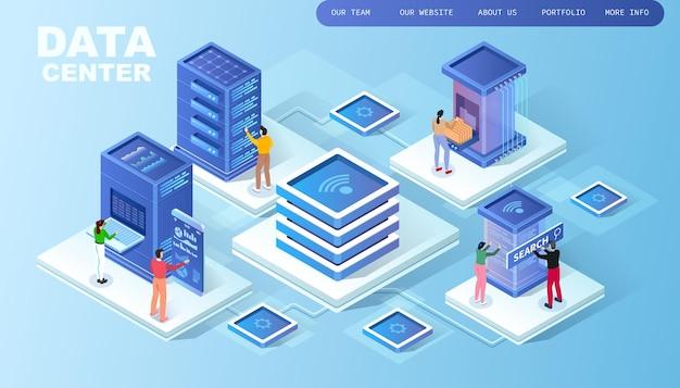Infraestrutura de rede, topologia de sala de servidores, data center em nuvem, dois empresários, análise de dados e estatísticas, tecnologia isométrica de rack de sala de servidores