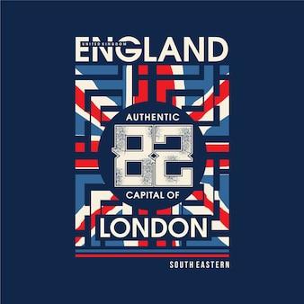 Inglaterra com tipografia gráfica de bandeira abstrata
