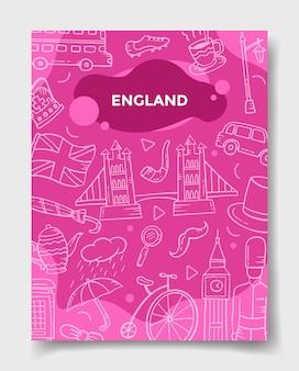 Inglaterra ou nação do país inglês com estilo doodle para modelo de banners, panfletos, livros e ilustração vetorial de capa de revista
