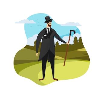 Inglês jovem cavalheiro roupa elegante terno.