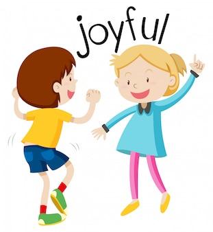 Inglês vocabulário palavra alegre