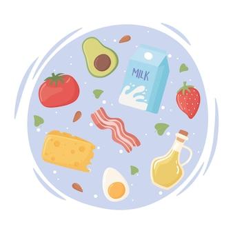 Ingredientes da dieta ceto em um círculo
