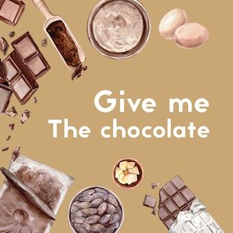 Ingredientes de aquarela chocolate fazendo padaria de chocolate, ovo, manteiga, ilustração