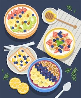 Ingredientes de café da manhã saudável