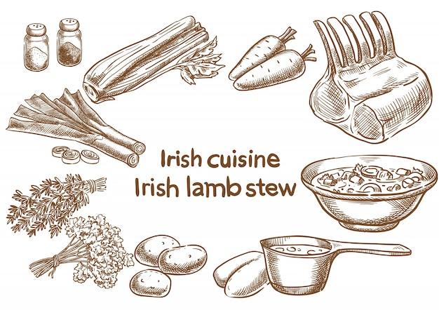 Ingredientes de lambstew irlandeses.