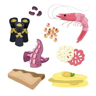 Ingredientes de osechi ryori desenhados à mão