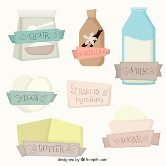 Ingredientes de padaria no estilo do vintage