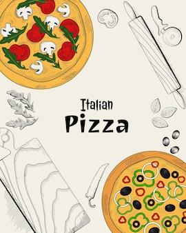Ingredientes de pizza italiana e itens de culinária vista superior modelo de design de menu de comida