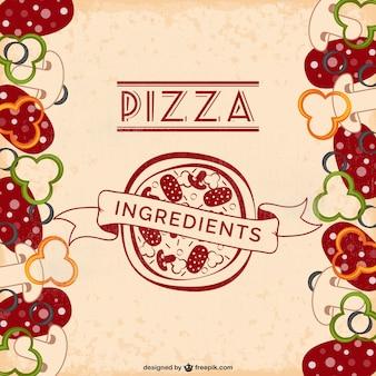 Ingredientes de pizza vetor livre