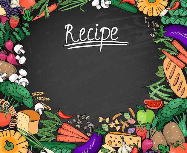 Ingredientes de receitas de alimentos coloridos, como vegetais, pão e fundo de especiarias no quadro negro