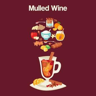 Ingredientes de vinho quente, ingredientes de copo.