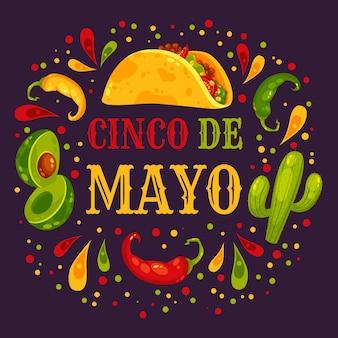 Ingredientes do festival de cinco de maio de um burrito