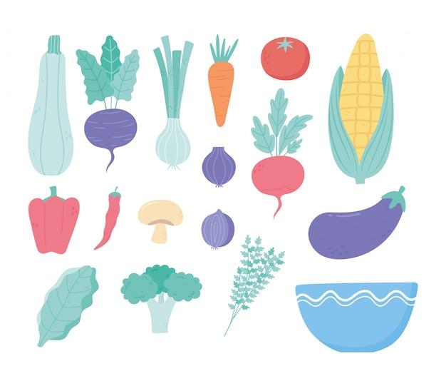 Ingredientes do menu fresco de legumes colhem ícones de tigela de nutrição