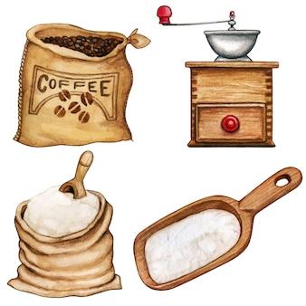 Ingredientes e ferramentas de aquarela de alta qualidade, café e farinha