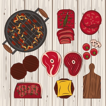 Ingredientes e utensílios para churrasco