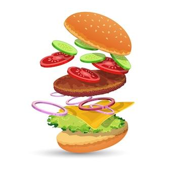 Ingredientes hamburger Vetor grátis