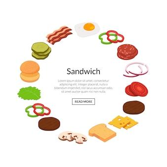 Ingredientes isométricos de hambúrguer cor plana