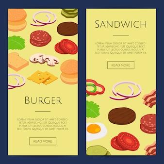 Ingredientes isométricos hambúrguer web banner conjunto