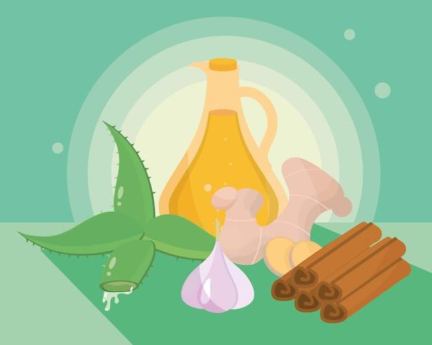 Ingredientes naturais de remédios caseiros