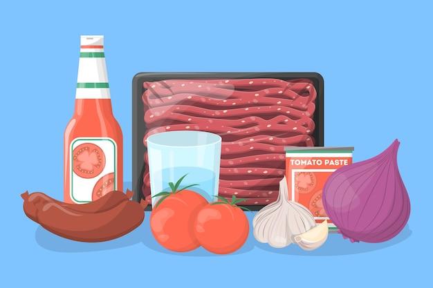 Ingredientes para receita de lasanha. cozinhando em casa