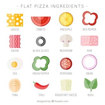 Ingredientes planas para a pizza