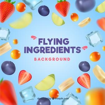 Ingredientes voando realistas