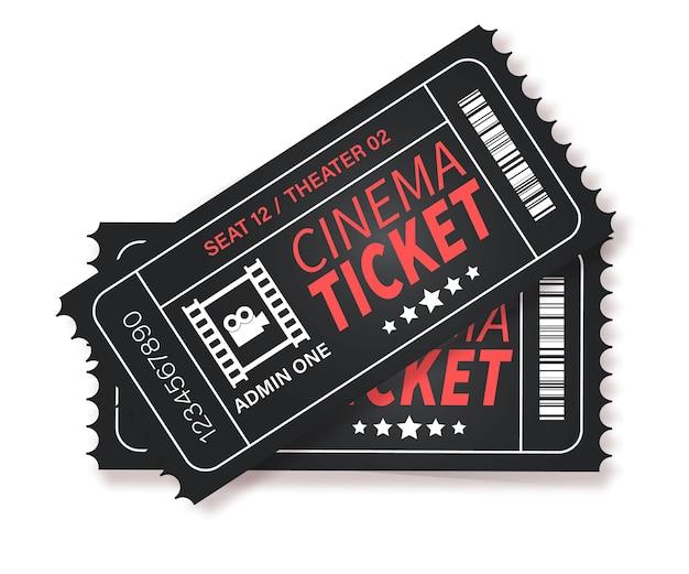 Ingresso de cinema. dois ingressos de cinema projetados fecham a vista superior. conjunto de modelos realistas de cinema, teatro, concerto, peça, festa, evento, festival preto e ouro