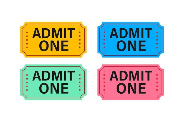 Ingresso de show vermelho e azul realista. antigos ingressos de cinema premium.
