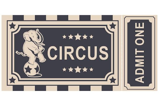 Ingresso vintage de circo com elefante se equilibrando no desenho de uma bola isolada
